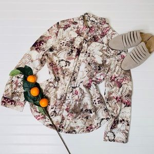 Chico's Abstract Floral Button Down Shirt